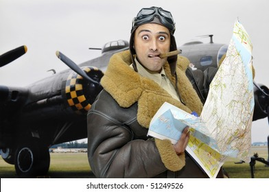 WWII fighter pilot with map and funny face
