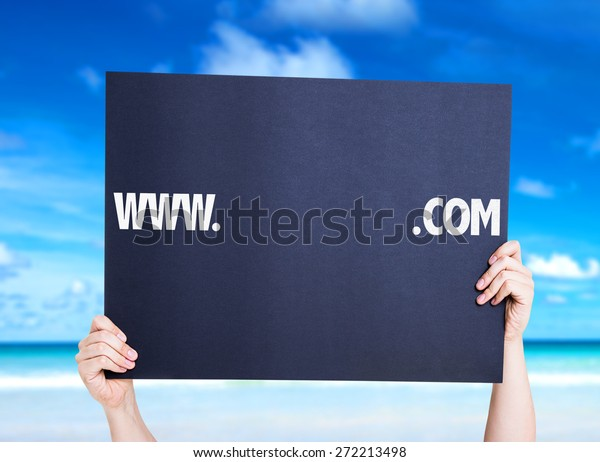 www. .com with a copy space card with beach background