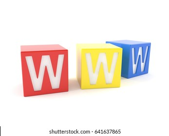 WWW concept isolated on white background. 3d illustration