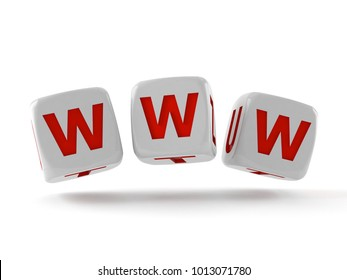 WWW dice isolated on white background. 3d illustration