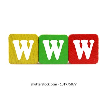 www - isolated text in wooden building blocks