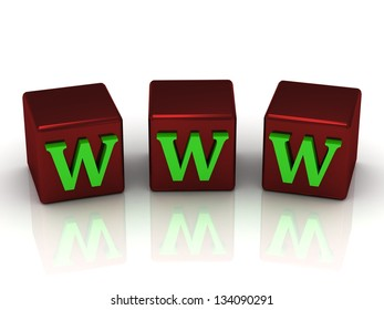 WWW message with bright green letters on copper red dice. Picture of my footage of the same