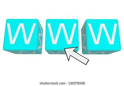 www on blue cubes