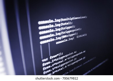 WWW software development. Big data storage and cloud computing representation. Young business crew working with startup. Abstract source code background. Computer science lesson.