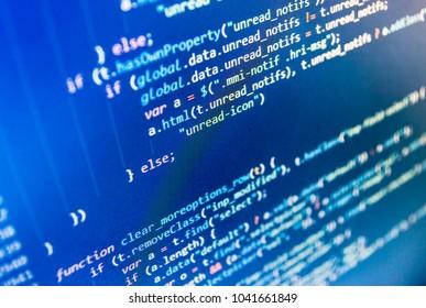 WWW software development. Webdesigner Workstation. Software engineer at work. Writing programming code on laptop. HTML5 in editor for website development. PC software creation business.