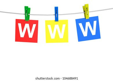 WWW tags with clothespin on a white background