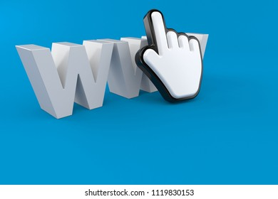 WWW text with cursor isolated on blue background. 3d illustration