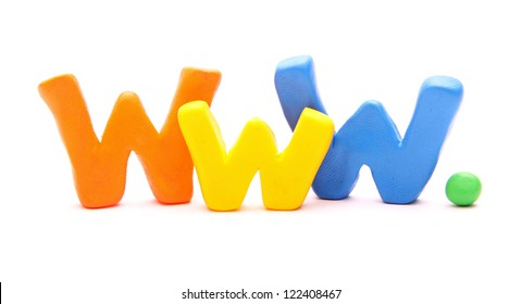 WWW - webwords of plasticine letters standing isolated on white