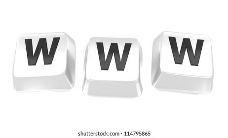 WWW written in black on white computer keys. 3d illustration. Isolated background.
