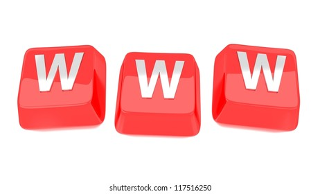 WWW written in white on red computer keys. 3d illustration. Isolated background.