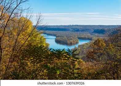 wyalusing state park atop bluff overlooking wisconsin river