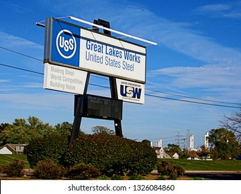 Wyandotte, Mich./USA-Oct. 22, 2017: The U.S. Steel Great Lakes Works south of Detroit.