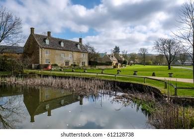WYCK RISSINGTON, GLOUCESTERSHIRE/UK - MARCH 24 : Picturesque Wyck Rissington Village in the Cotswolds in Gloucestershire on March 24, 2017