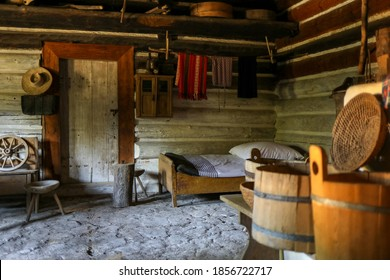 Wygiezlow, Poland - August 14, 2020: Interior of wooden rural cottage from the 19th century in heritage park. Open-air museum Nadwislanski Ethnographic Park in Wygiezlow. Malopolska, Poland