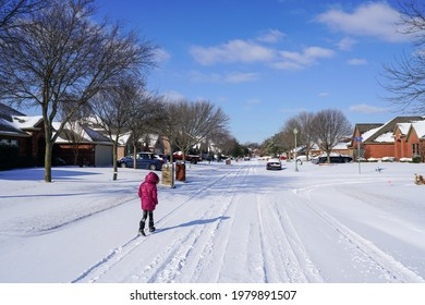 Wylie, Texas, USA: Feb 15, 2021: Winter storm that caused rolling power outages across Texas.