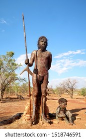 Wyndham, Australia - 09 28 2019: Beautiful Warriu Dreamtime statues in a remote park in Wyndham