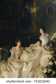 THE WYNDHAM SISTERS, by John Singer Sargent, 1897, American painting, oil on canvas. Lady Elcho, Mrs. Adeane, and Mrs. Tennant were the three daughters of the Honorable Percy Wyndham, a wealthy London