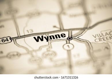 Wynne. Arkansas. USA on a geography map
