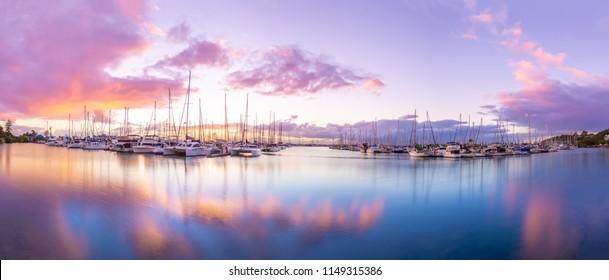 Wynnum Manly boat harbour sunrise