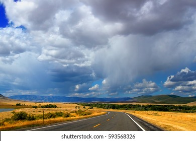 Wyoming country road scenery on a beautiful summer day in Albany County