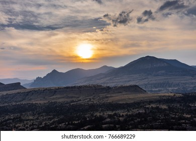 Wyoming landscape, at sunset (Park County, Wyoming, United States).