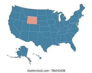 Wyoming state - Map of USA