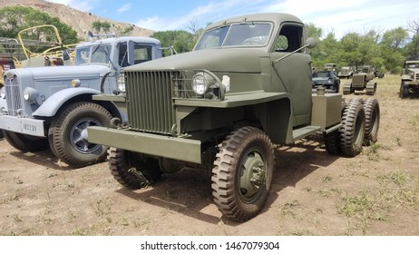 Wyoming, USA - July 26, 2019: Studebaker US6 2½-ton 6x6 truck, manufactured primarily for export to USSR under Lend-Lease during World War II