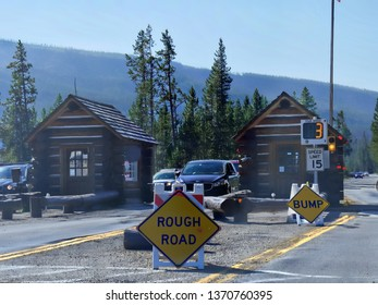 Wyoming, USA--July 2018: South entrance gate to Yellowstone National Park, Wyoming.