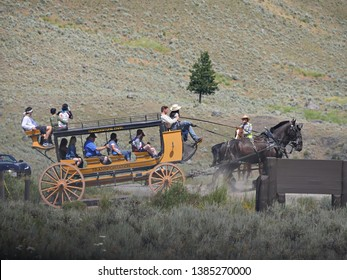 Wyoming, USA--July 2018: The stagecoach ride is one of the popular attractions at Yellowstone National Park.