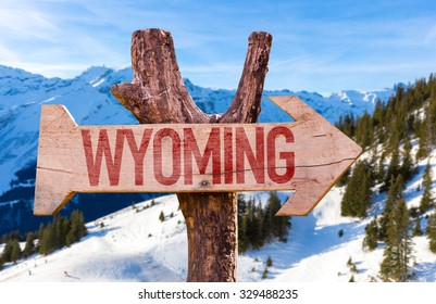 Wyoming wooden sign with winter background