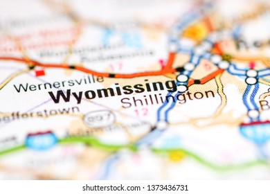 Wyomissing. Pennsylvania. USA on a geography map