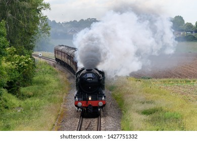 Wyre Piddle, Worcestershire, England on June 15 2019.  Flying Scotsman Steam train travelling between Worcester and London Paddington
