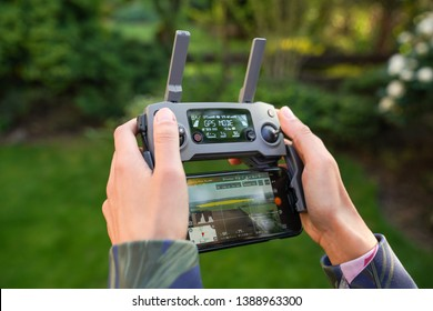Wysoka, Poland - May 2, 2019: Flying drone might be a hobby or a profession