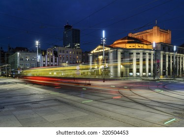 Wyspianski Theatre, and the tram in the evening. Katowice, Poland