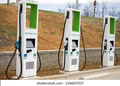 Wytheville, VA/ USA - March 11, 2019 Electrify America Charging Station Pumps at Sheetz