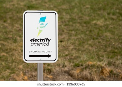 Wytheville, VA/USA - March 11, 2019 Electrify America EV Charging Sign at an EV Charging Station