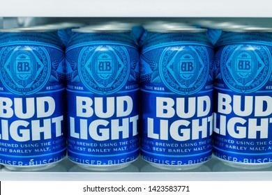 Wytheville, VA/USA-June 13, 2019: Cans of Bud Light Beer lined up on a shelf in a refrigerator.