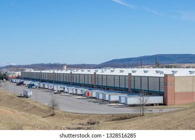 Wytheville, VA/USA-March 2, 2019: Loading Docks at the QTG Gatorade Blue Ridge Manufacturing Facility in Wytheville, VA