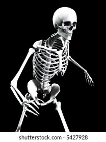 An x ray image of a  Skelton in a pose, a useful image for either medical or Halloween concepts.