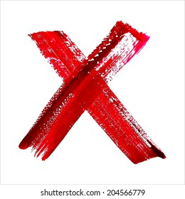 X - Red handwritten letter on white background. Acrylic colors.