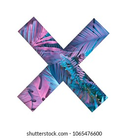 X shape with painted tropical and palm leaves in vibrant bold colors. Concept art. Minimal summer colorful background.