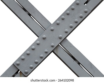 An X shaped metal girdle with rivets, isolated against white.