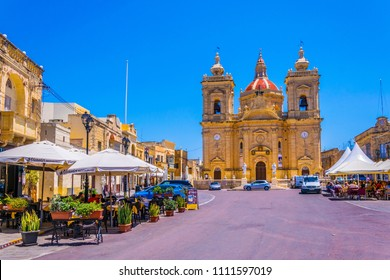 XAGHRA, MALTA, JUNE 7, 2017: Xaghra Parish Church at Gozo, Malta