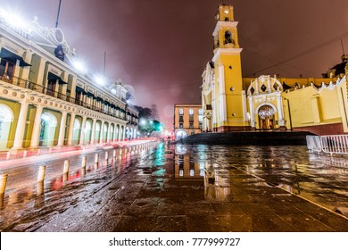 Xalapa cathedral and government palace in a long exposure shot
