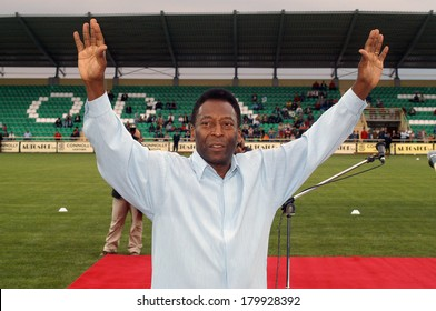 XANTHI GREECE MAY 12.  Pele, Edson Arantes do Nascimento, the famous Brazilian football player, during his visit for the opening of the new arena of the Skoda Xanthi FC at Xanthi, May 12, 2005