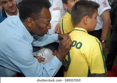 XANTHI GREECE MAY 12. Pele, Edson Arantes do Nascimento, the famous Brazilian football (soccer) player, visiting Greece for the opening of the new arena of the Skoda Xanthi FC at Xanthi, May 12, 2005