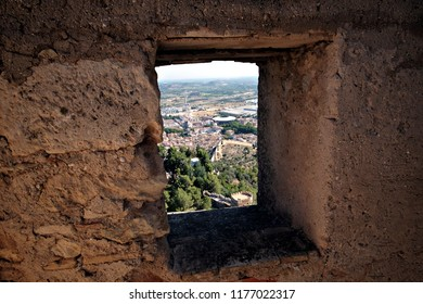Xativa / Spain - July 28 2018: view of the town from a loophole in the old castle