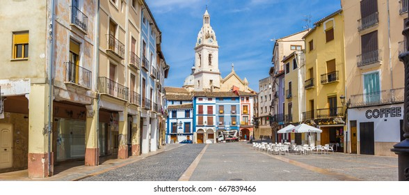 XATIVA, SPAIN - JUNE 09, 2017: Panorama of the colorful market square of Xativa, Spain