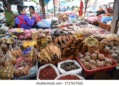 XAYABOURI, LAOS- JANUARY 12, 2019: main market on January 12 2019 in Xayabouri, Laos