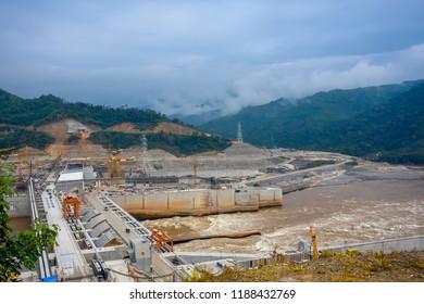 Xayaburi province, Laos PDR - 24 December 2017. Xayaburi hydropower Project is a hydroelectric dam on the Lower Mekong River approximately 30 kilometres (19 mi) east of Xayaburi (Sainyabuli).